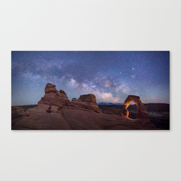 Delicate Arch Under the Starry Sky in Arches National Park Panorama Canvas Print