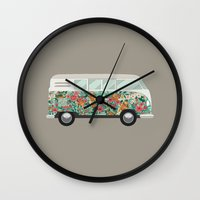 hippie Wall Clocks featuring Hippie van by eARTh