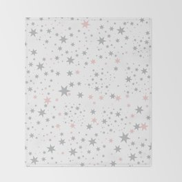 Stars silver and blush Throw Blanket