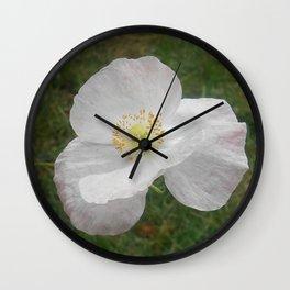 White Flower (California Poppy) Wall Clock