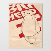 baymax Canvas Prints featuring Baymax by Even In Death