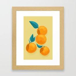 Oranges on yellow Framed Art Print