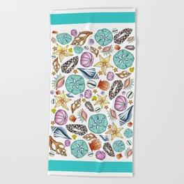 Illustrated Seashell Pattern Beach Towel