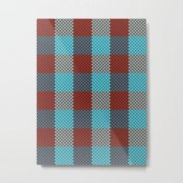 Pixel Plaid - Cranberry Bog Metal Print