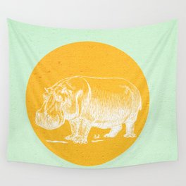 Blossom me Hippo Wall Tapestry