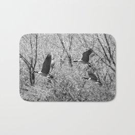 Canada Geese in Black & White Bath Mat