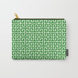 Green and White Greek Key Pattern Carry-All Pouch
