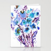 Stationery Cards featuring Bouquet Blue by Amy Sia