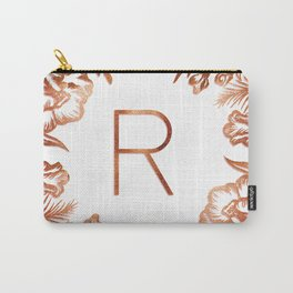 Letter R - Faux Rose Gold Glitter Flowers Carry-All Pouch