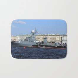 "The military battleship ""Kazanec"" 311. Neva River. Day of the Russian Navy. Bath Mat"