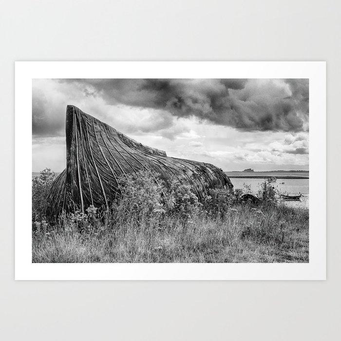fishing art print boat shed linocut Northumberland Lindisfarne boat shed art print