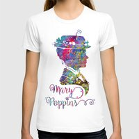 mary poppins T-shirts featuring Mary Poppins Portrait Silhouette by Bitter Moon