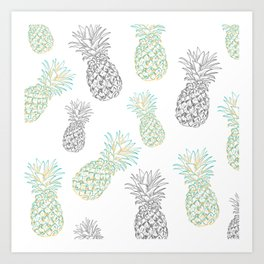Pineapples party Art Print