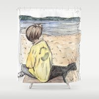 cape cod Shower Curtains featuring Cape Cod by Katerina Skassi