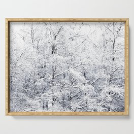 Winter is here - Snowy Birches Winter Scene #decor #society6 #buyart Serving Tray