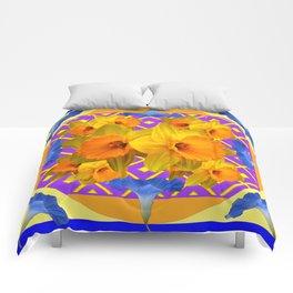 Golden Daffodils Blue Morning Glories Garden Pattern Comforters