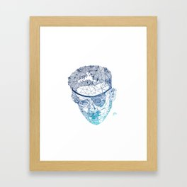 James Joyce - Hand-drawn Geometric Art Print - Blue Gradient Framed Art Print