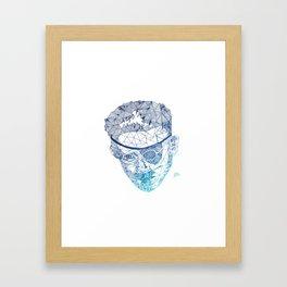 James Joyce - Hand-drawn Geometric Art Print - Blue Gradient Framed Art Print