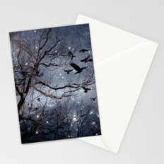 Woodland Crows And Bursting Stars Stationery Cards