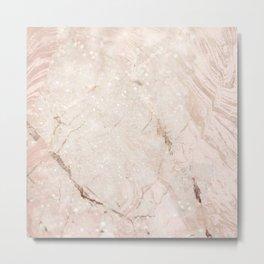 Pink Rose Gold Marble Glitter Shimmer Sparkles Metal Print