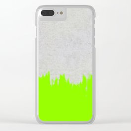 Brushstroke on Concrete - Neon Green Clear iPhone Case