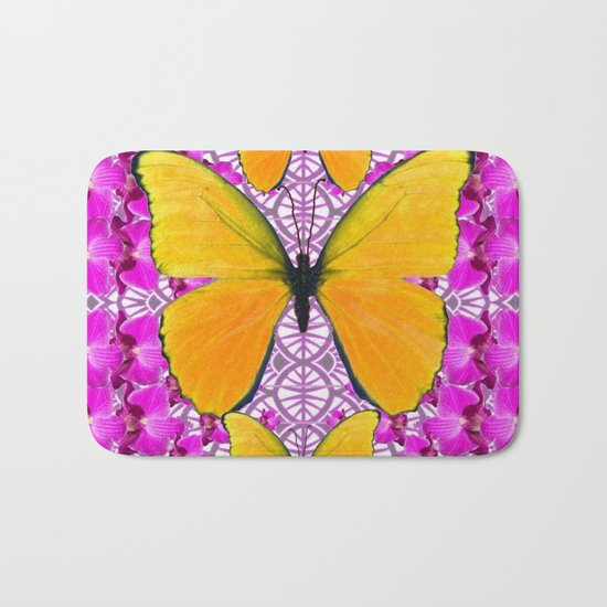 FUCHSIA COLORED  ORCHIDS &  YELLOW  BUTTERFLY FLORAL by sharlesart