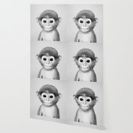 Baby Monkey - Black & White Wallpaper