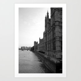 Westminster Abbey on the River Thames Art Print