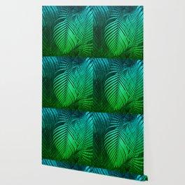 TROPICAL GREEN BLUE LEAVES Wallpaper