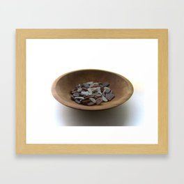 Brown and White Sea Glass Framed Art Print