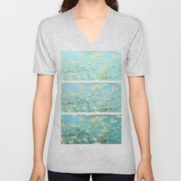 Vincent Van Gogh Almond Blossoms  Panel arT Aqua Seafoam Unisex V-Neck