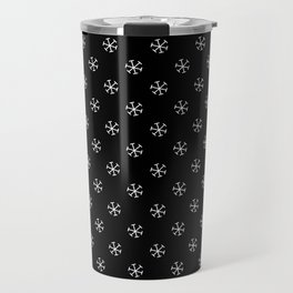 White on Black Snowflakes Travel Mug
