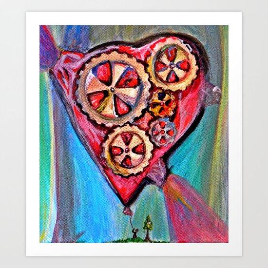 Pulling down the heart balloon Art Print