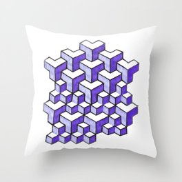 Isometric Purple Cubes Throw Pillow