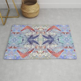 Waves and Cranes Chinoiserie Inspired Wall Art | Japanese Katagami Stencil Design in Red, Blue, Gray Rug