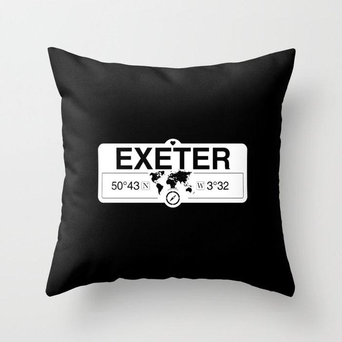 Exeter England GPS Coordinates Map Artwork with Compass Throw Pillow