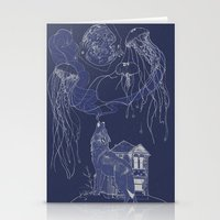 jelly fish Stationery Cards featuring Jelly Fish by Jessica Bowman Illustrates