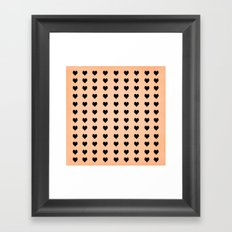 Rows Of Hearts (peach) Framed Art Print