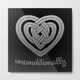 UNCONDITIONALLY in grey on black Metal Print