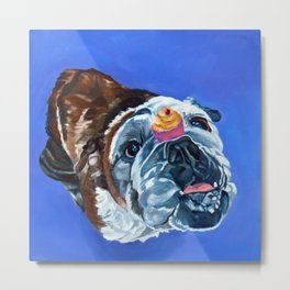 Millie the Bulldog and Her Cupcake Metal Print