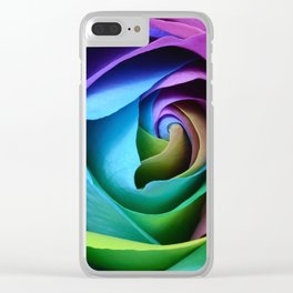Rainbow Rose Clear iPhone Case