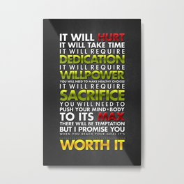 It's Worth It: Typography Metal Print