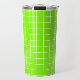 Chartreuse (web) - green color - White Lines Grid Pattern Travel Mug