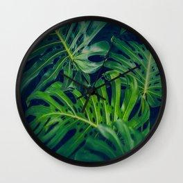 Tropical Monstera Leaves Wall Clock