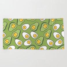 Egg and avocado Beach Towel