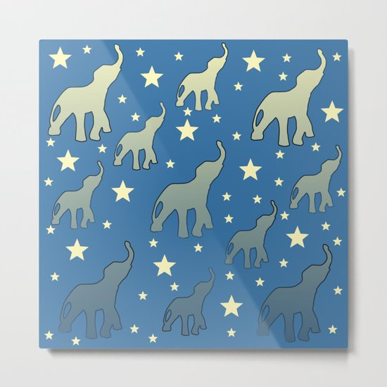 Blue Elephants Stars Pattern Metal Print