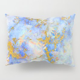 Abstract Art Deco Pattern in Blue Infused With Gold Pillow Sham