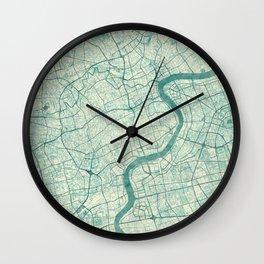 Shanghai Map Blue Vintage Wall Clock