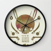 pirates Wall Clocks featuring 토끼해적단 TOKKI PIRATES by PAUL PiERROt
