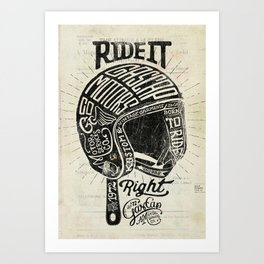 Gascap Motors, Ride it Right Helmet! vintage motorcycles Art Print